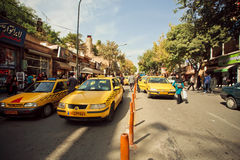 Street road with line of taxi cars in Iran Stock Image