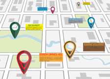Street road map ,business infographics with colorful pin pointer Royalty Free Stock Photo