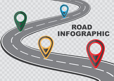 Street road map on checkered background ,business infographics with colorful pin pointer, vector illustration Stock Photo