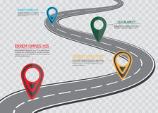 Street road map on checkered background ,business infographics with colorful pin pointer, vector illustration.  stock illustration