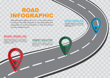 Street road map on checkered background ,business infographics with colorful pin pointer, vector illustration Royalty Free Stock Photos