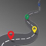 Street road with map point isolated on transparent background, curve way to goal, racing track, bus. Iness infographic with colorful pin pointer, vector royalty free illustration