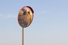 Street road mirror. Street road security safety mirror Royalty Free Stock Photos