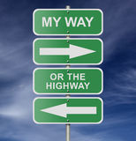 Street Road Sign My Way Or The Highway. Illustration of street road sign messages My Way Or The Highway, possibly for a business or personal strategy Royalty Free Stock Image