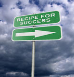 Street Road Sign Recipe For Success. Illustration of a street road sign message Recipe For Success, possibly for a business or personal strategy Stock Photography