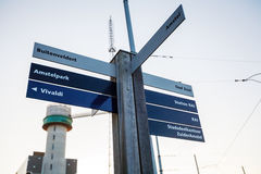 Street Road Signs Navigation System, Amsterdam Royalty Free Stock Photo