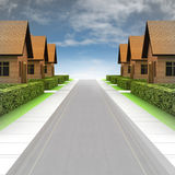 Street road view with new village development and sky Royalty Free Stock Photos