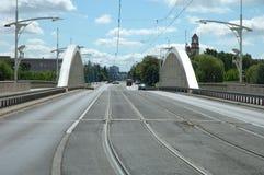 Street on Rocha bridge in Poznan Royalty Free Stock Image