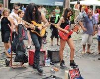 Street-rock musicians. Brazil, Bello Horizonte. Street Rock musicians plays on the Sunday market in the city center stock photography