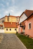 Street with rock pavement in historic Czech town Mikulov Royalty Free Stock Photo