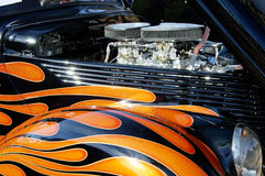 Street Rod 2. Details of the engine and graphics on a customized vehicle Stock Photo