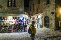 Street in Rodhes town royalty free stock photography