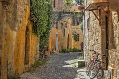 Street in Rodos. Street of  the city of Rodos  (island of Rhodes, Greece Royalty Free Stock Photo
