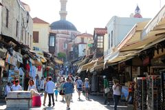 Street in Rodos. Touristic  Street of  the city of Rodos  (island of Rhodes, Greece Stock Image