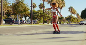 Street Roller Skating at Exotic Outdoor stock video footage