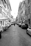 Street of Roma - Italy. Borgo Pio street in Roma in Italy. Vintage black and white photo taken in 1996 Royalty Free Stock Photos