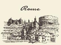 Street Rome Italy vector illustration drawn sketch Stock Photos