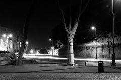Street in Rome at night with light trails Royalty Free Stock Photography