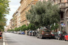 Street of Rome with parked in row vehicles Stock Photography
