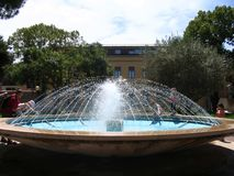 Street round fountain in the centre of Umag city, Croatia royalty free stock photo