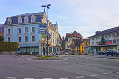 Street with roundabout in the Old Town of Thun Royalty Free Stock Photography