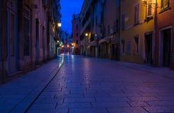 Street in Rovinj at evening Stock Photo