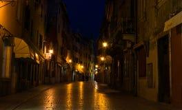 Street in Rovinj by Night Stock Photos