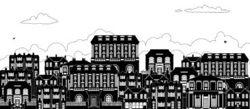Houses Victorian Georgian Silhouettes Row Street. A street with a row of houses in Victorian, Georgian and Edwardian styles in silhouette stock illustration