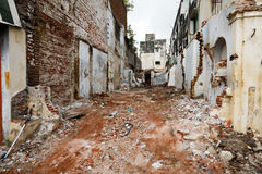 Street with ruins of demolished houses Royalty Free Stock Images