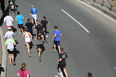 Street runners at 29th Belgrade marathon Royalty Free Stock Image