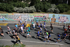 Street runners at 29th Belgrade marathon Stock Image