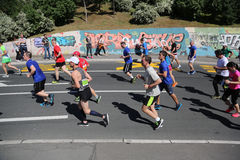 Street runners at 29th Belgrade marathon Stock Images