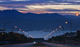 Street running to the Red Sea, Eilat, Israel Royalty Free Stock Image