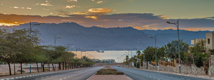 Street running to the Red Sea, Israel Stock Images