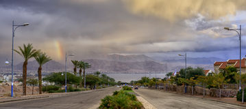 Street running to the Red Sea. The photo was taken in Eilat just before thunderstorm Royalty Free Stock Image