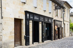 Street of Saint-Emilion. SAINT-EMILION, FRANCE - MAY 06, 2015: Saint-Emilion - one of the main red wine production areas of Bordeaux region, France. The town is royalty free stock images