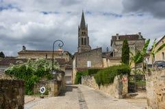 Street of Saint-Emilion. Saint-Emilion - one of the main red wine production areas of Bordeaux region, France stock photos