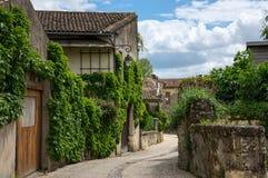 Street of Saint-Emilion. Saint-Emilion - one of the main red wine production areas of Bordeaux region, France stock images