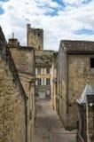 Street of Saint-Emilion. Saint-Emilion - one of the main red wine production areas of Bordeaux region, France stock image