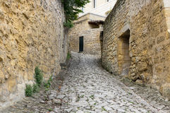 Street of Saint-Emilion. Saint-Emilion - one of the main red wine production areas of Bordeaux region, France stock photography