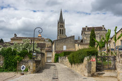 Street of Saint-Emilion. Saint-Emilion - one of the main red wine production areas of Bordeaux region, France royalty free stock images