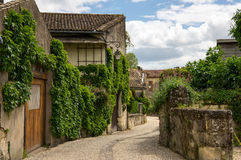 Street of Saint-Emilion. Saint-Emilion - one of the main red wine production areas of Bordeaux region, France royalty free stock photo