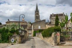 Street of Saint-Emilion. Saint-Emilion - one of the main red wine production areas of Bordeaux region, France stock photo