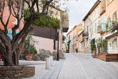 Street in Saint Tropez, Provence, France. Traditional architecture in the streets of Saint Tropez mediterranean town, Provence, France Royalty Free Stock Photos