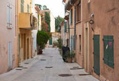 Street in Saint Tropez, Provence, France. Traditional architecture in the streets of Saint Tropez mediterranean town, Provence, France Royalty Free Stock Photography