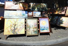 Street sale painted  pictures, Lithuania Stock Photos