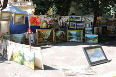 Street sale painted pictures, Ukraine Stock Photo