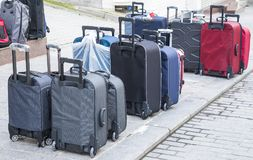 Street sale of suitcases in the big city. Street sale of suitcases in the big city Royalty Free Stock Photo