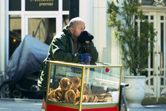 Street sales of traditional Turkish bagels Simit, Stock Photo