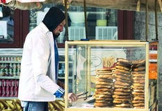 Street sales of traditional Turkish bagels Simit, Royalty Free Stock Photography